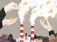 Puttig gold coins in chimney smoke (Credit: Luisa Rivera/Yale E360) Click to Enlarge.
