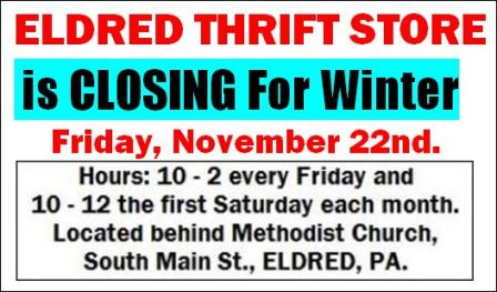11-22 Eldred Thrift Store Closing