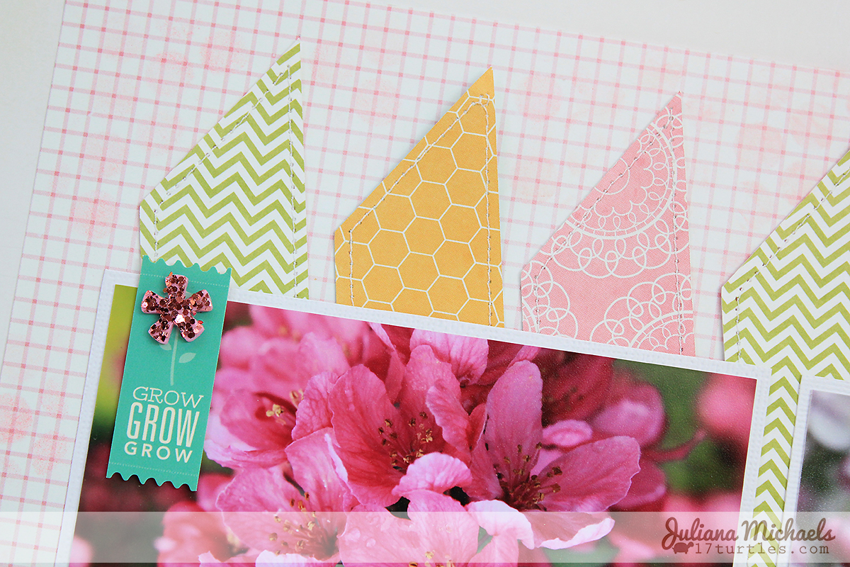 Detail of Hello Spring Scrapbook Page by Juliana Michaels