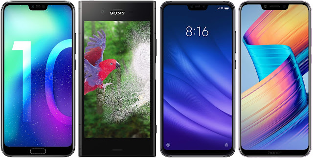 Honor 10 64 GB vs Sony Xperia XZ1 vs Xiaomi Mi 8 Lite 128G vs Honor Play