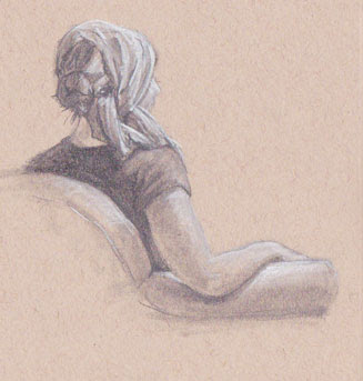 Sivitz, sketch, woman, graphite, white charcoal, figure drawing, art