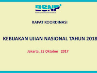 Hasil RAPAT KOORDINASI KEBIJAKAN UJIAN NASIONAL TAHUN 2018 Jakarta, 25 Oktober 2017