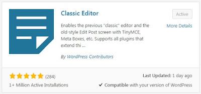 Plugin Classic Editor WordPress