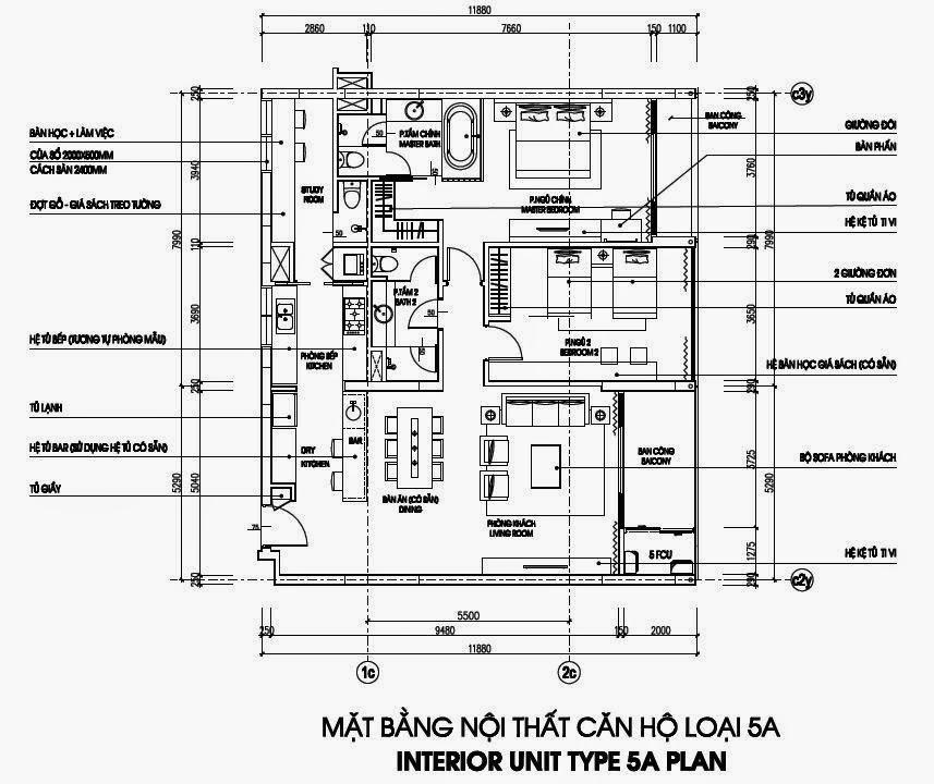 Bản vẽ thiết kế căn hộ CH5A - 156m2 Chung cư Dolphin Plaza