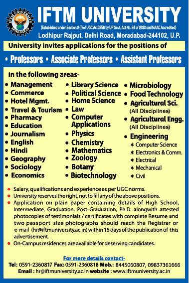 IFTM University Life Sciences Faculty Jobs 2020