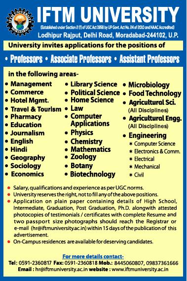 IFTM University Life Sciences Faculty Jobs 2020