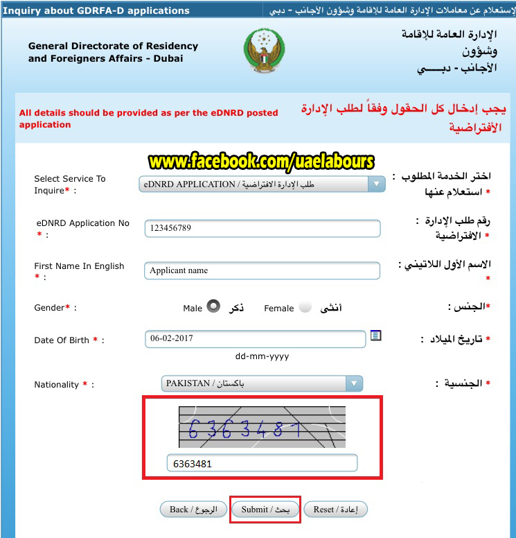 Dubai Tourist visa status online