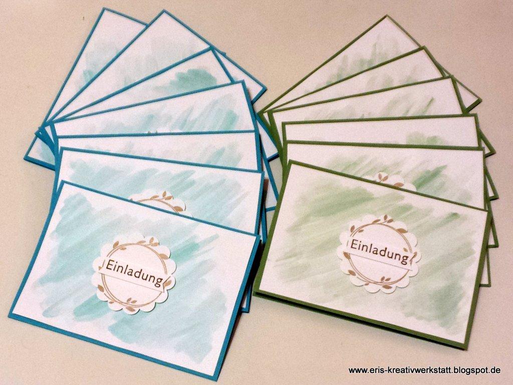 eri's kreativwerkstatt: einladungen zur firmung mit aquarelltechnik, Einladung