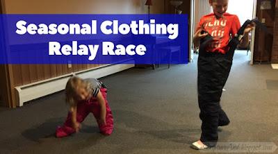 Seasonal Clothing Relay Race | scriptureand.blogspot.com