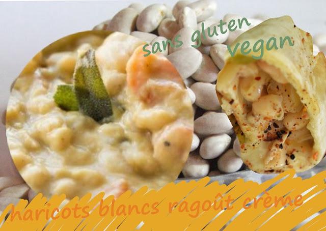 ragoût de haricots blancs secs, crème animale ou végétale, fines herbes, vegan, sans gluten