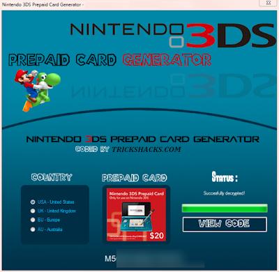 NINTENDO 3DS PREPAID CARD CODE HACK GENERATOR TOOL UPDATED 2013 FREE DOWNLOAD