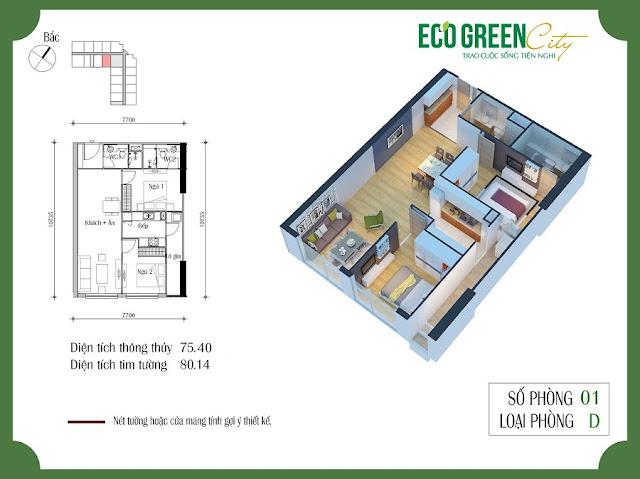 Thiết kế căn hộ 01 tòa CT2 Eco green city