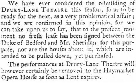 Déménagement du théâtre de Drury Lane au Haymarket