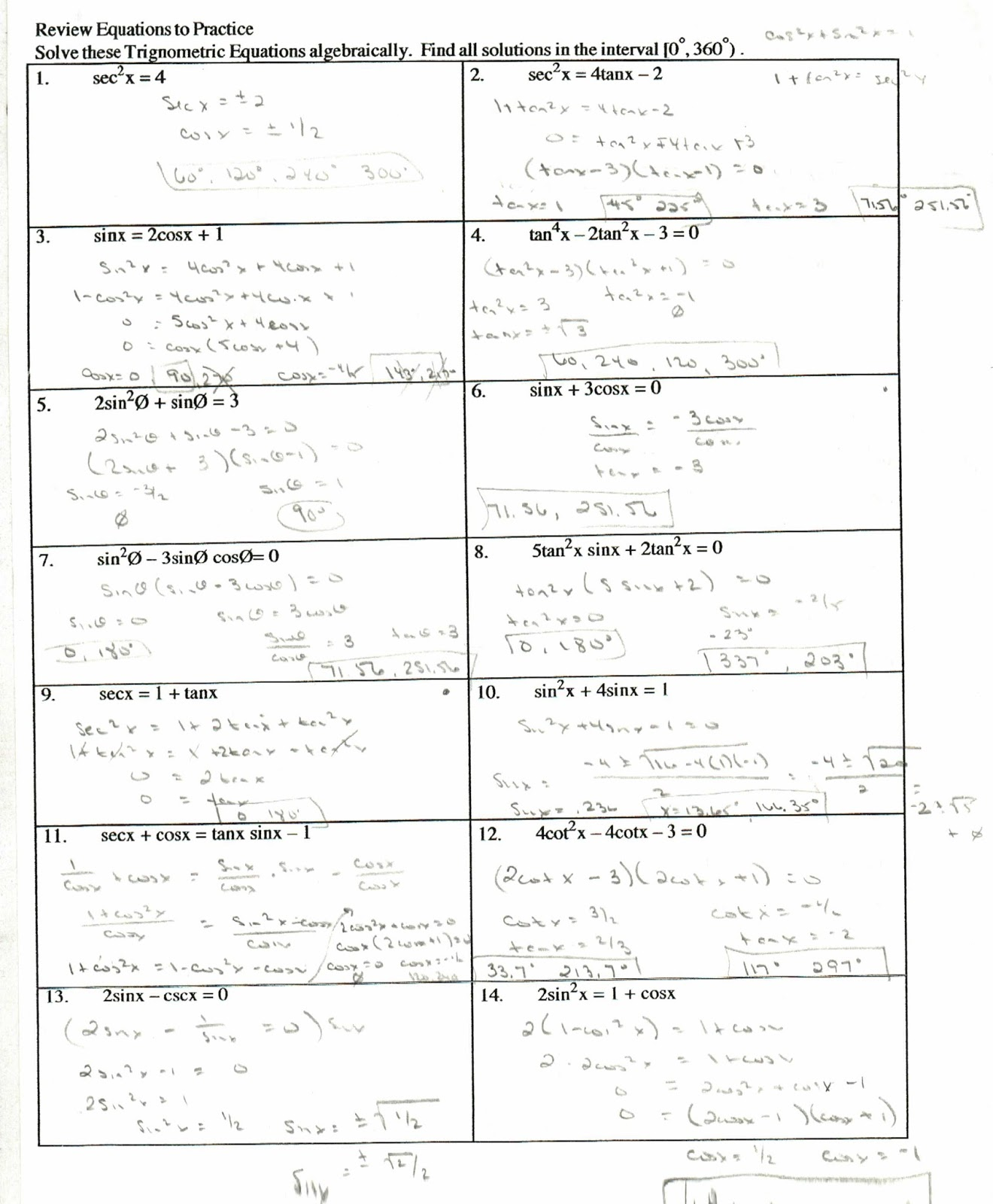 trig identities worksheet