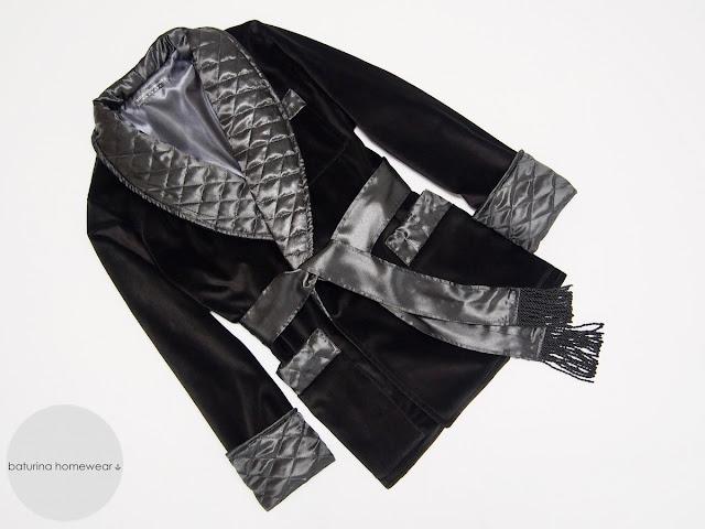 herren hausjacke englisch morgenmantel smoking jacket samt schwarz warm gesteppt seide gefüttert edel elegant exklusiver hausmantel britisch raucherjacke