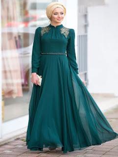 gaun pesta muslimah elegan