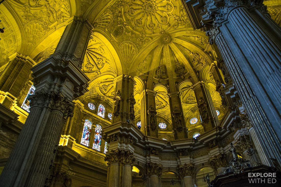 Inside the Renaissance style Malaga Cathedral