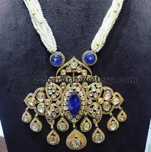 Polki Diamond Sapphire Pendant with Pearls