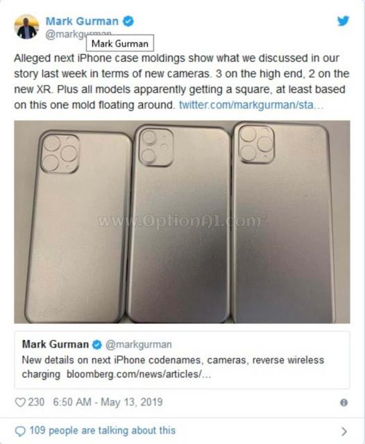 """نشر مراسل بلومبرج مارك غورمان صورة لـ """"تصميمات مزعومه  لموديلات ايفون iPhone التالية"""" على Twitter"""