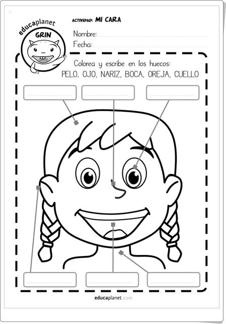 """""""Mi cara"""" (Ficha en español e inglés de Educaplanet)"""