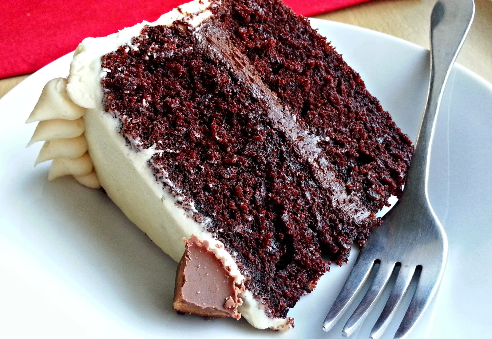 Chocolate cake with peanut butter ganache and marshmallow frosting