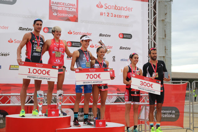 Podio Barcelona Triathlon by Santander 2018
