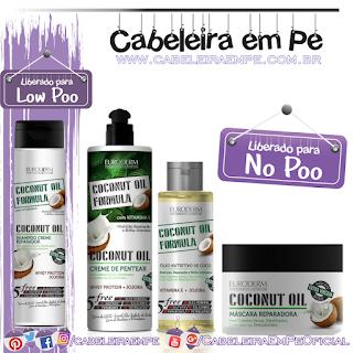 Shampoo (Low Poo), Máscara, Creme para pentear e Óleo Nutritivo Coconut - Euroderm