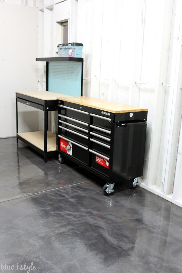 Workbenches on gunmetal metallic garage floor