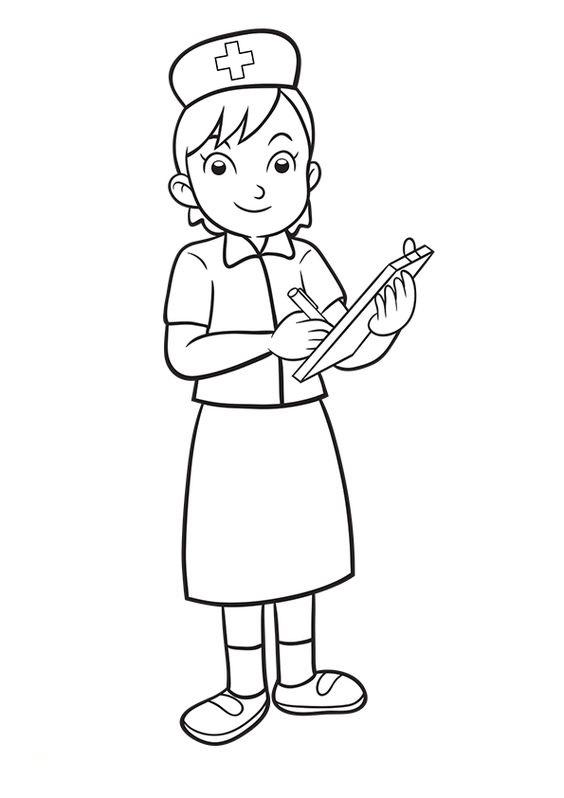 Tranh tô màu chủ đề nghề nghiệp cô y tá
