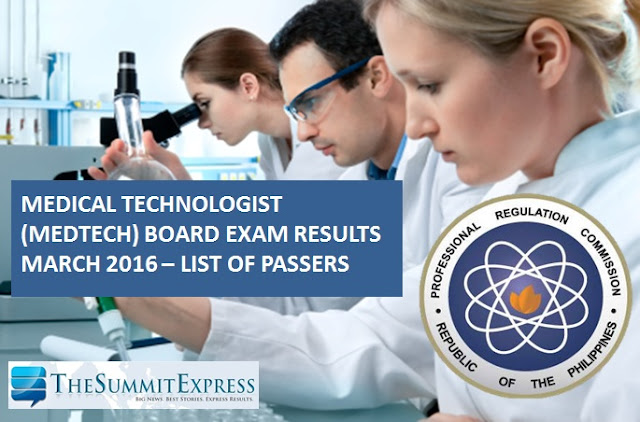 List of Passers: March 2016 Medtech board exam results