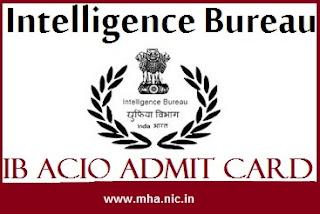 IB ACIO Admit Card 2017