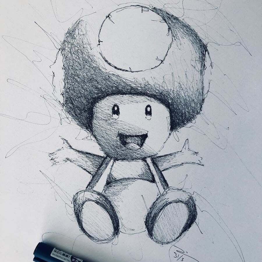 12-Super-Mario-Bros-Mushroom-Jimmy-Mätlik-Fantasy-Character-Scribble-Drawings-www-designstack-co