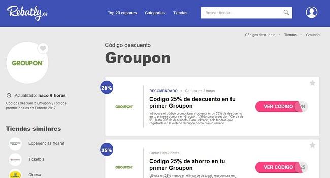Descuentos y códigos de Groupon en Rebatly.es
