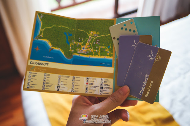 Club Med Cherating location map, room keys and towel card