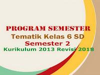Program Semester Tematik Kelas 6 SD Semester 2 Kurikulum 2013 Revisi 2018