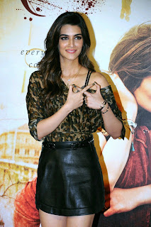Kriti Snaon in Black Slim Micro Mini Super Tight Skirt and Lovely Top Spicy Pics