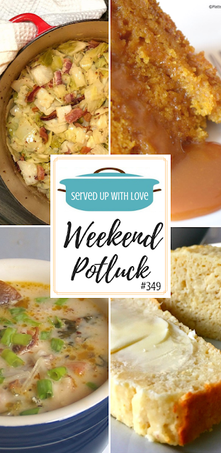 Weekend Potluck featured recipes include Knock Your Socks Off Crock Pot Soup, Slow Cooker Sticky Caramel Pumpkin Cake, Fried Cabbage, Easy Amish Sour Cream Bread, and so much more.