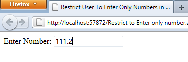 How to Restrict User To Enter Only Numbers in Textbox Using