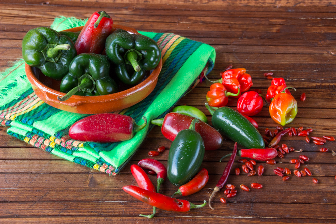 Distintos tipos de chiles