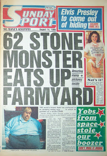 Front page of a vintage Sunday Sport UK tabloid newspaper from 14th August 1988