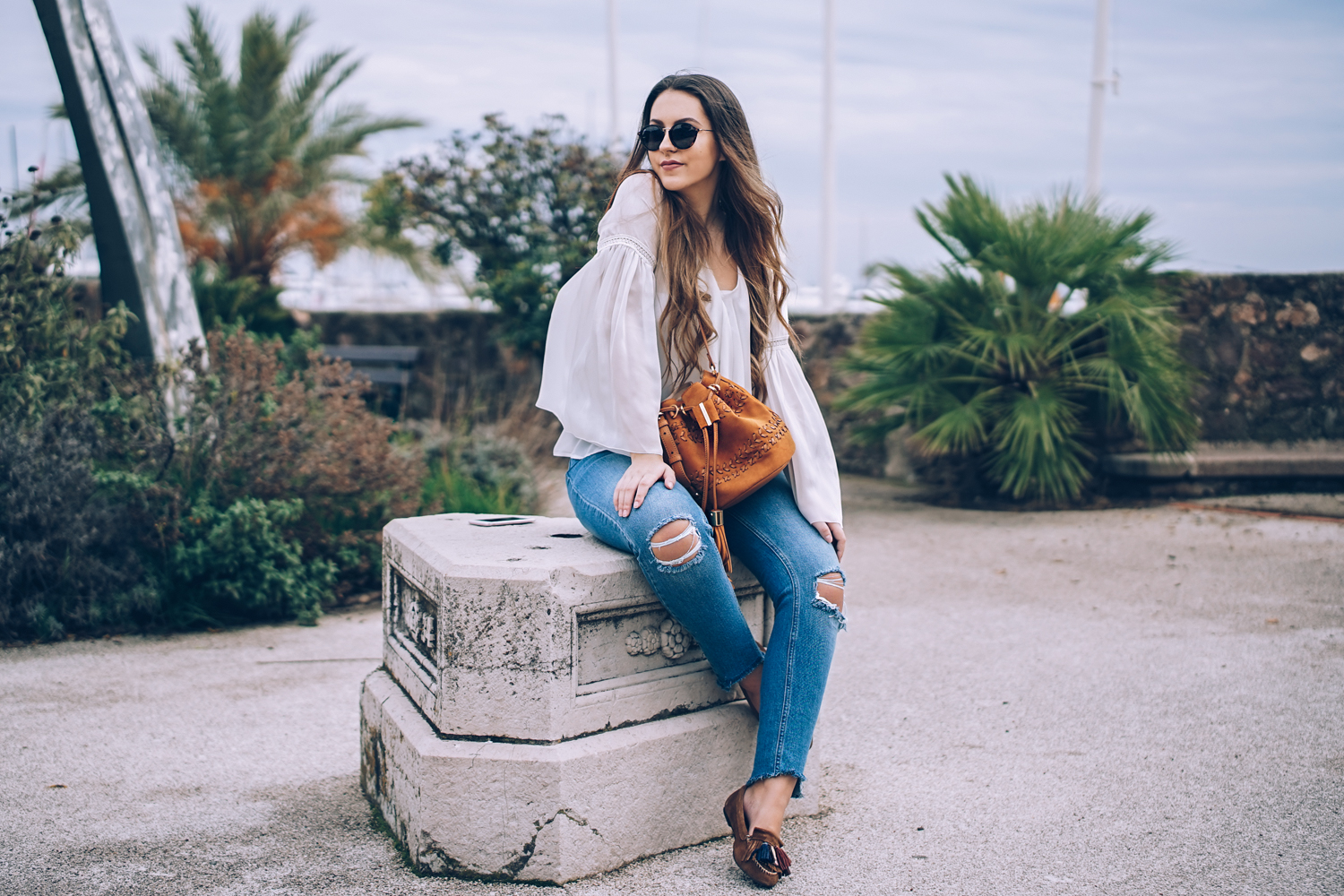 jane birkin style ruffles denim suede fashion blogger