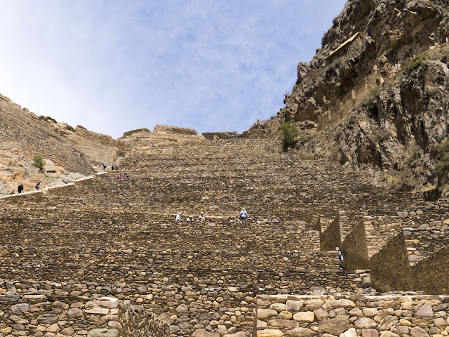 Steep stone steps in the Ollantaytambo Incan Ruins in Peru