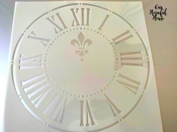 laser cut French farmhouse clock stencil fleur de lis