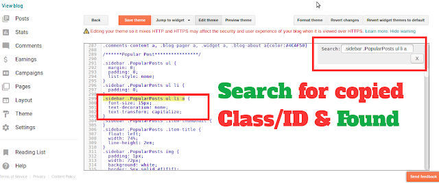 Search for copied class and ID from Blogger HTML