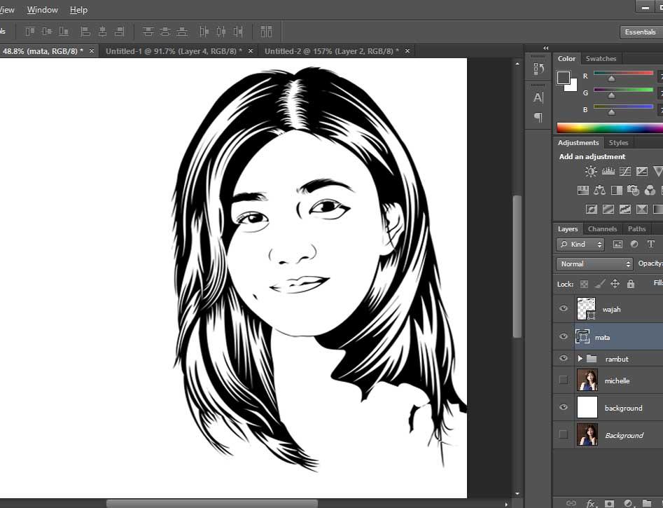 Line Art Wajah : Tutorial teknik line art dengan photoshop grafisarena