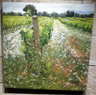 Esguard de Dona - Vinyes a la primavera quadre de Maria Teresa Baltasar, Exposició Entre Vinyes Capella de Sant Joan Vilafranca del Penedès