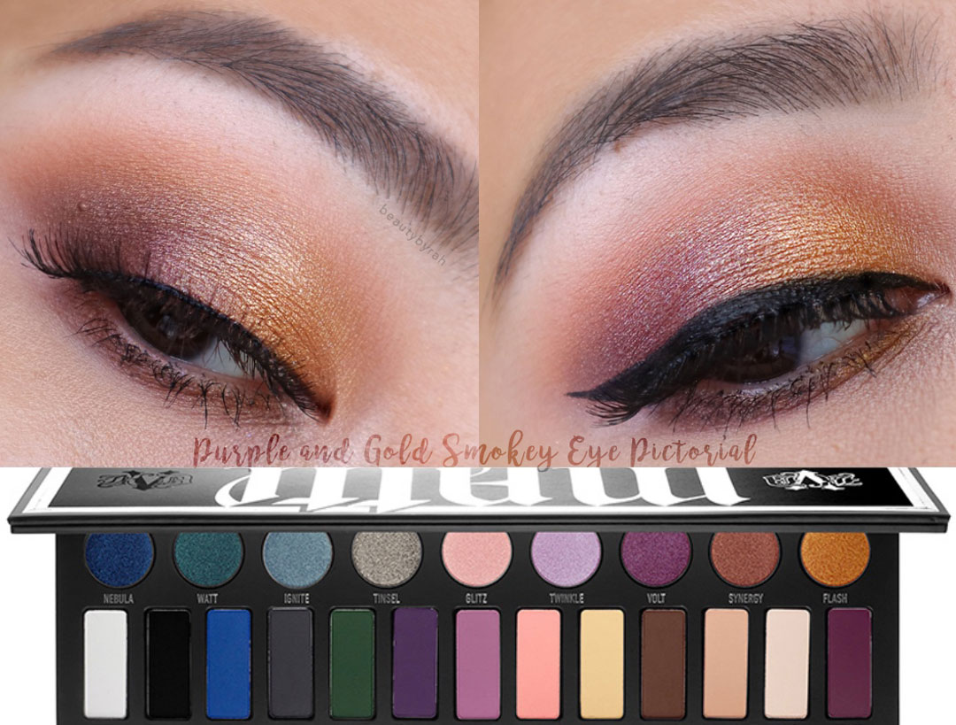 Gold and Purple Cat Eye Makeup Tutorial using the Kat Von D Metalmatte Eyeshadow Palette