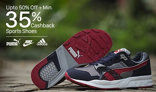Top Brands Sports Shoes – Upto 50% Off + Extra 35% to 50% Cashback @ Paytm