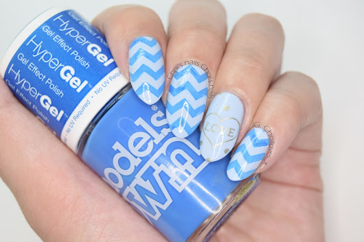 Choi's nails: Models Own - Hypergel blue chevrons