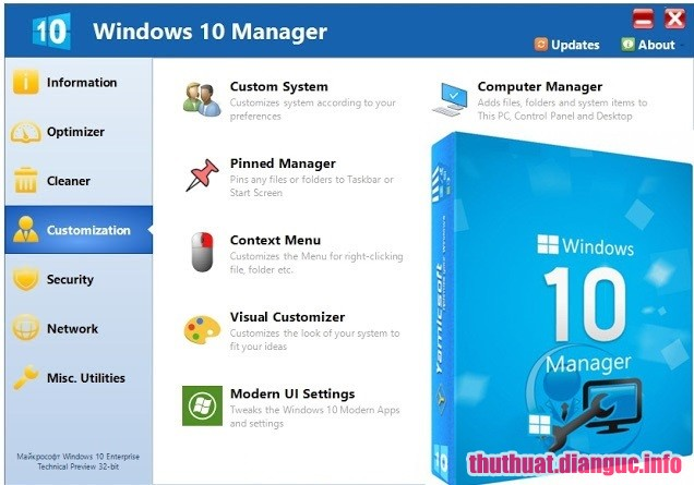 Download Yamicsoft Windows 10 Manager 3.0.4 Full Crack, phần mềm tối ưu hóa hiệu suất của Windows 10, Yamicsoft Windows 10 Manager, Yamicsoft Windows 10 Manager free download, Yamicsoft Windows 10 Manager full key
